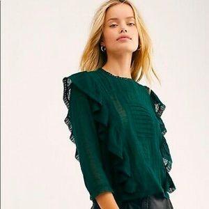 Free People   Emerald Green Jasmine Top   Small